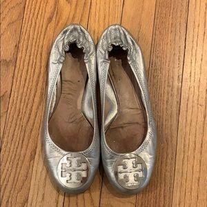 Tory Burch Reva Metallic Ballet Flat